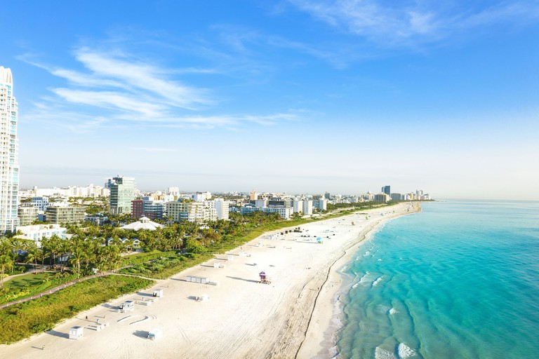 High view of South Beach in Miami from South Pointe Park, Florida, USA