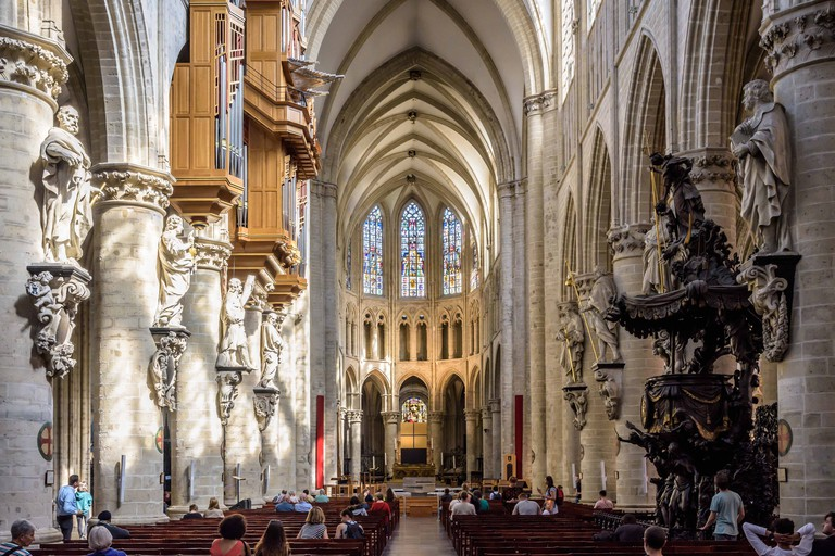 Nave and choir of the Cathedral of St. Michael and St. Gudula in Brussels, Belgium.