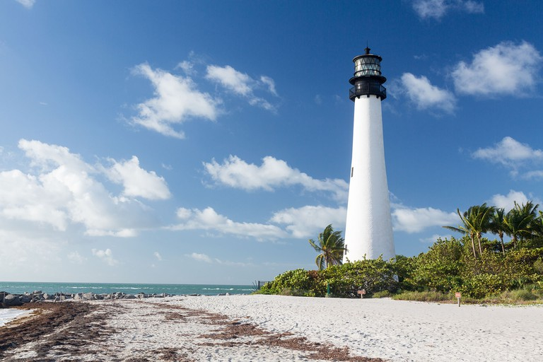 Cape Florida lighthouse on a sunny day in Bill Baggs