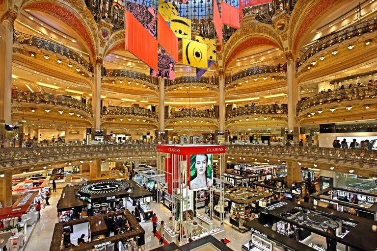 The Galeries Lafayette, the most famous Parisienne shopping center (since 1894), at 9th arrondissement, Paris, France