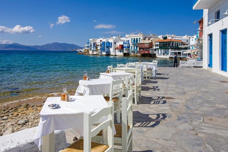 Restaurant at waterfront, Little Venice, Mykonos island, Greece.