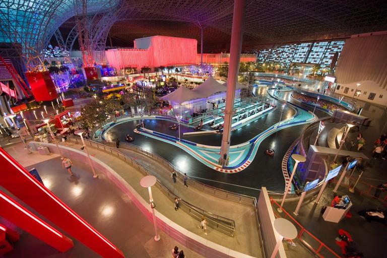 Interior of indoor amusement park Ferrari World