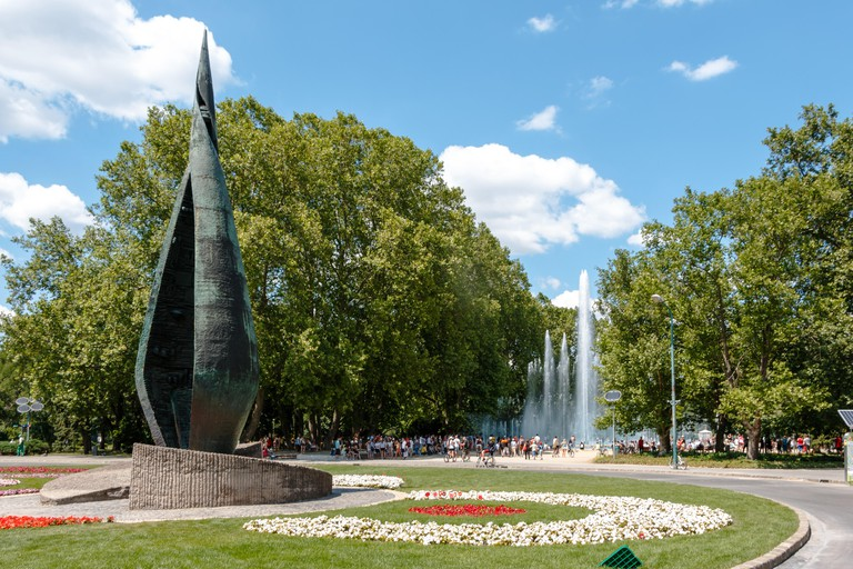 The sculpture and fountain at Margaret Island in Budapest, Hungary