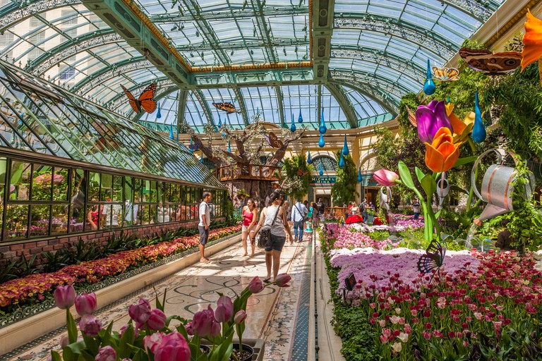 Tourists visiting Bellagio's Conservatory & Botanical Gardens in the Billagio Luxury Resort and Casino on the Las Vegas Strip in Paradise, Nevada