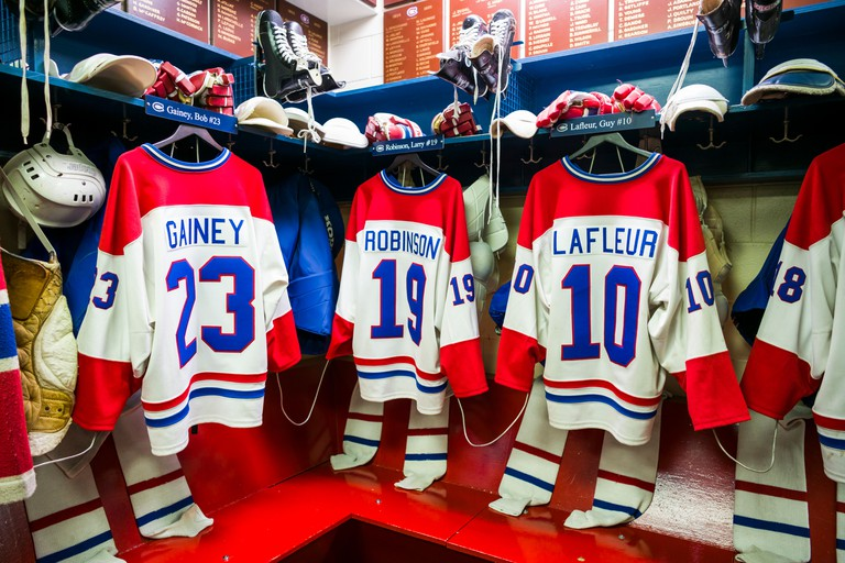 Locker room of the Montreal Canadiens hockey team at the Toronto Hockey Hall of Fame