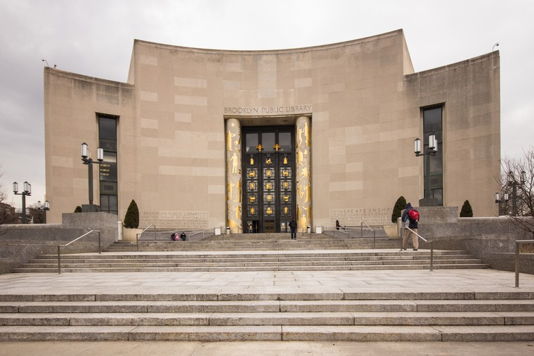 Exterior view of the central branch of the Brooklyn Public Library on Flatbush Avenue and Eastern Parkway.