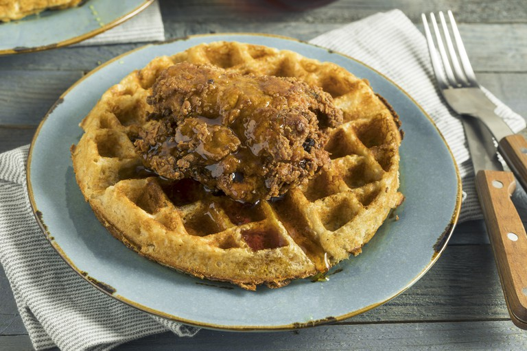 Homemade southern chicken is delicious with a waffle and syrup