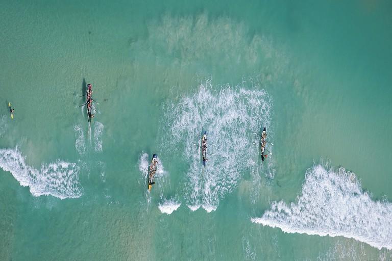 Surf boats at Scarborough Beach © Tourism Western Australia