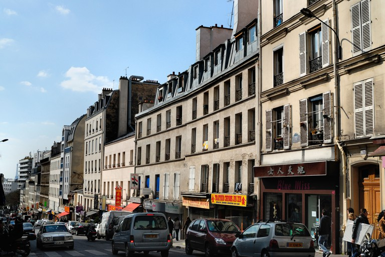 View of Rue de Belleville in Paris.