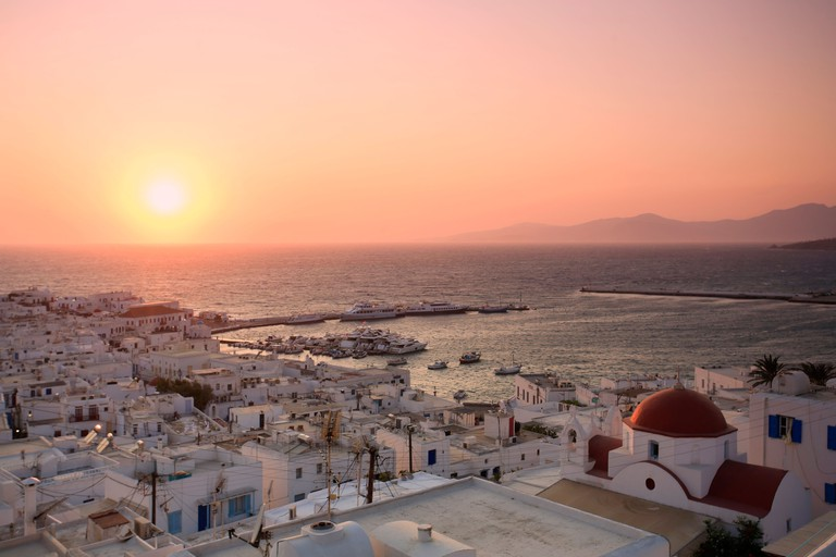View over Mykonos Town at sunset