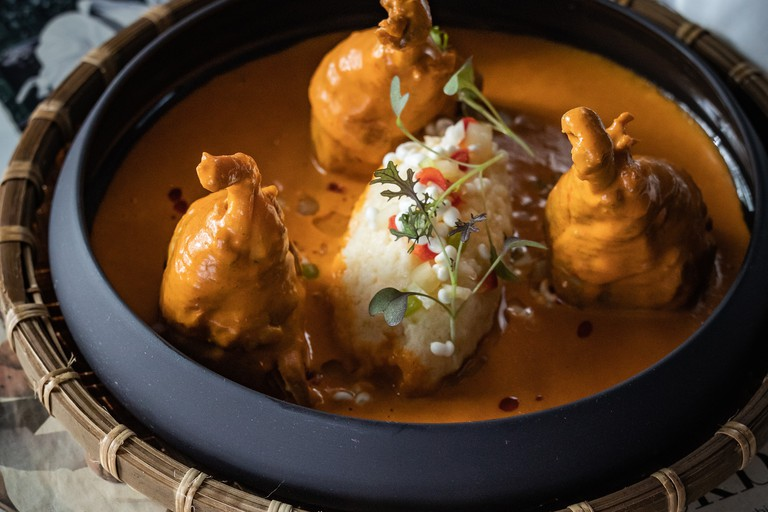 Chicken paprikash with a surprise and butter noodle at Bock Bistro