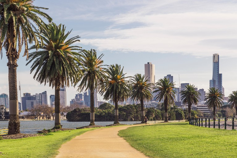 Melbourne City skyline seen from Albert Park Lake and Lakeside Drive, Melbourne, Victoria, Australia