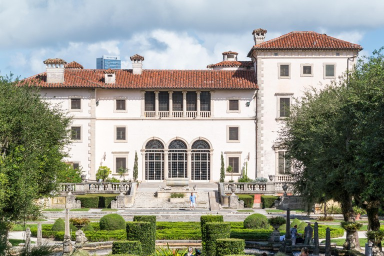 Villa Vizcaya north facade from museum gardens in Coconut Grove in Miami, Florida, USA