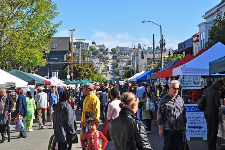 San Francisco: daily life in Castro, one of the first gay neighborhoods in Usa, the most prominent symbols of gay activism