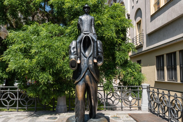 The Franz Kafka monument stands close to his former family home in Prague