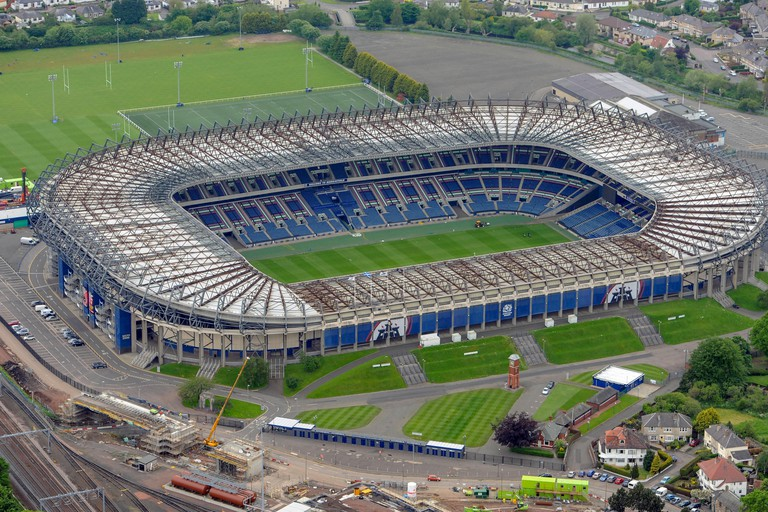 Aerial view of BT Murrayfield Stadium, Edinburgh.