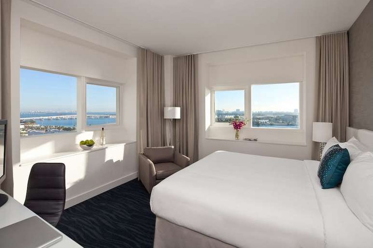 Enjoy views of the skyline or Biscayne Bay from your room at the YVE Hotel Miami