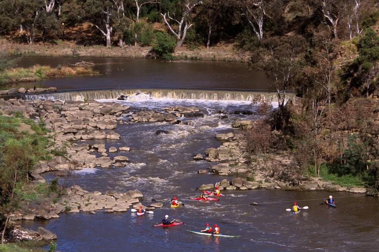 Dights Falls is an artificial weir built across a natural rock bar in the Yarra River