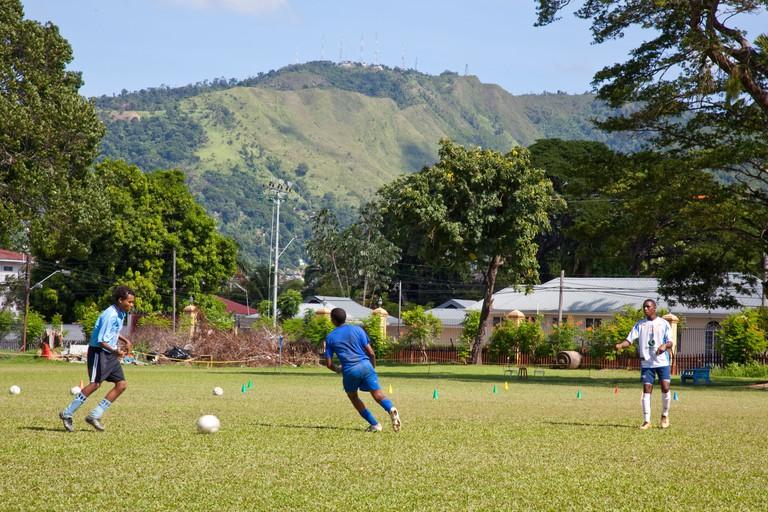 Football Practice in Queens Park Savannah, Trinidad