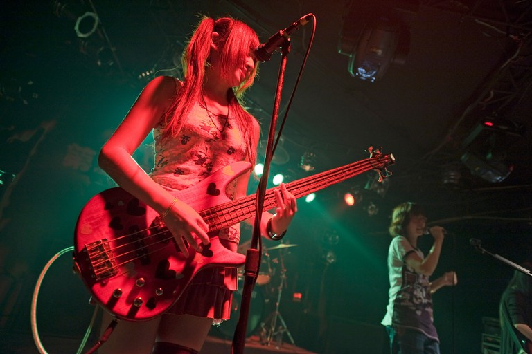 Underground rock girls' band called Black Barika at the 13 Club in Beijing, China.