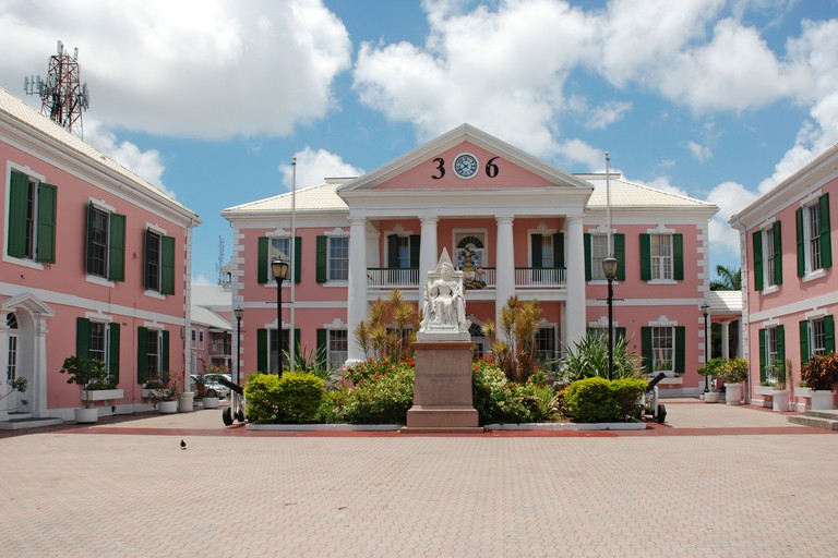 Government House in Parliament Square, Nassau, New Providence, Bahamas.