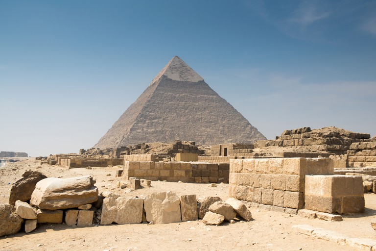 The Khafre Pyramid is the second largest of the ancient structures at Giza