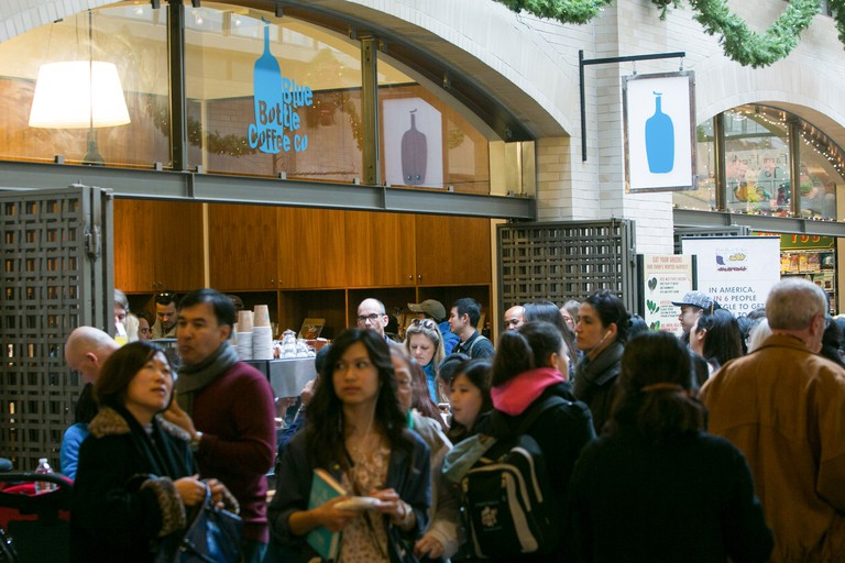 Blue Bottle Coffee Company retail store in the Ferry Building in downtown San Francisco, California, USA.