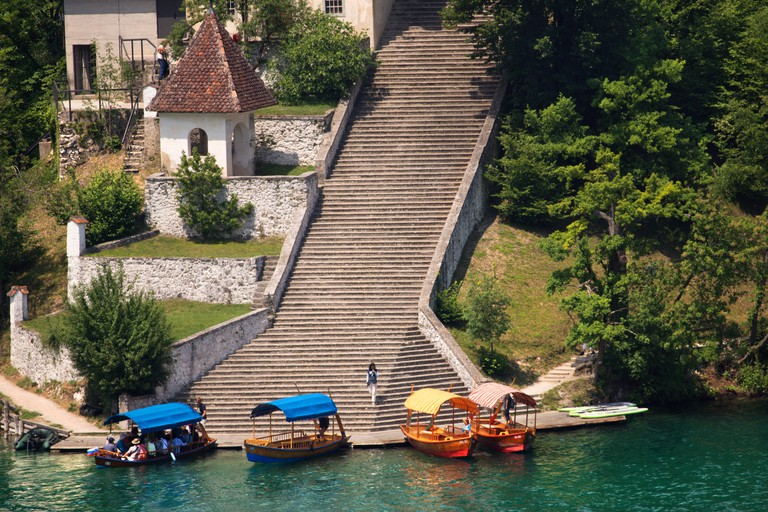 Steps up to the church on Lake Bled island.