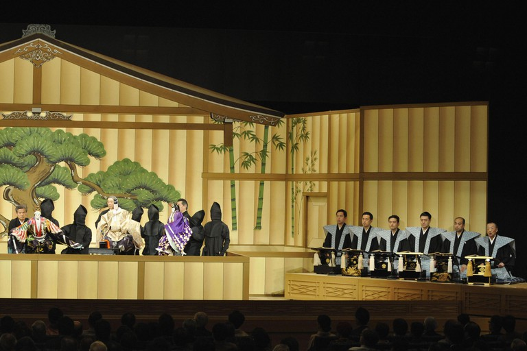 'Kotobukishiki Sanbaso' a piece in Japanese traditional puppet theater known as bunraku, is performed at the National Bunraku Theatre in Osaka.