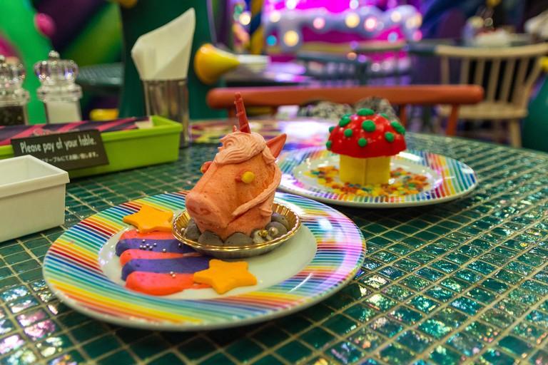 Unicorn cake and fly agaric cake at Kawaii Monster Cafe in Harajuku, Tokyo