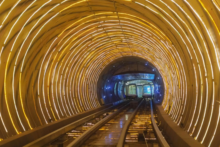 Mandatory Credit: Photo by Gtw/imageBROKER/REX/Shutterstock (5519812a) Bund Sightseeing Tunnel at Waterfront The Bund, Pudong, Shanghai, China VARIOUS