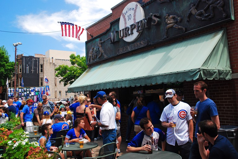 Fans celebrate a Cubs win at Murphy's, a tavern outside of Wrigley Field