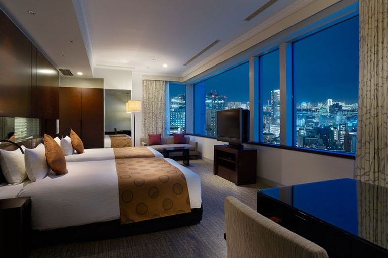Enjoy the impressive Tokyo skyline from the comfort of your bed, Hotel the Celestine Tokyo Shiba, Tokyo