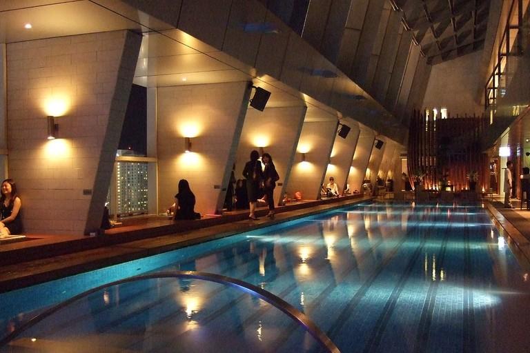 The long swimming pool inside Skybar KL