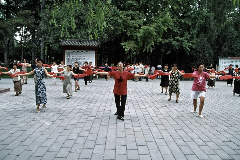 Residents often perform tai chi in Ritan Park