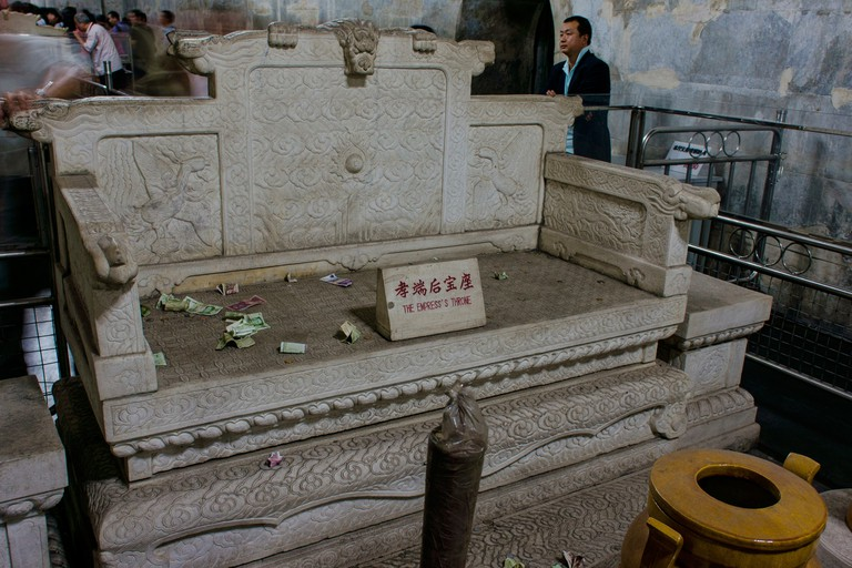 Empress Throne Chair in Dingling Tomb in Ming Dynasty Tombs in Bejing, China
