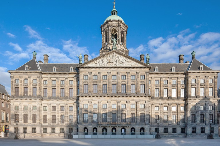 Amsterdam Royal Palace on the Dam Square. Dutch - Koninklijk Paleis or Paleis op de Dam.