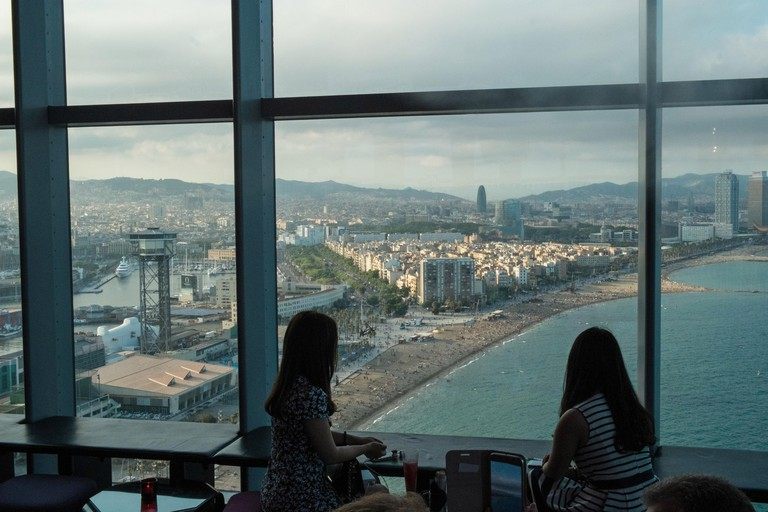W,Hotel,W Hotel,Barcelona,view,beach,Eclipse,bar,W, Barcelona hotel (also known as Vela Hotel), Port area, Catalonia,Spain,