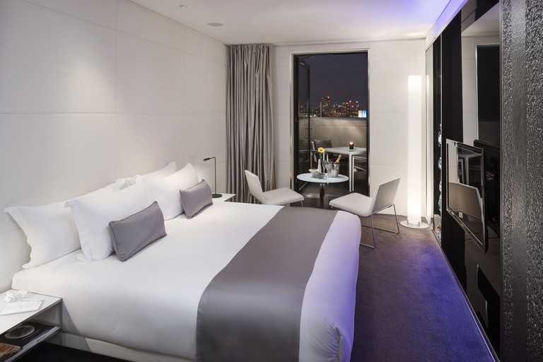Rooms are monochrome with metallic tones and a splash of colour, ME London