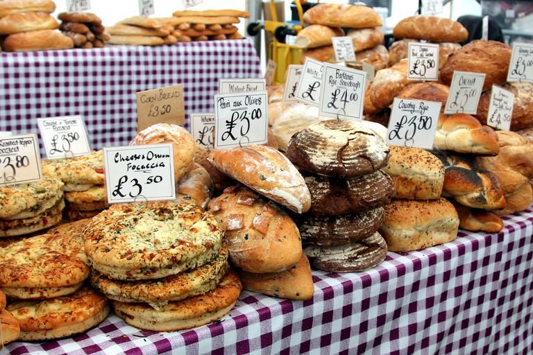 Bread Market Stall at Borough Market, London.