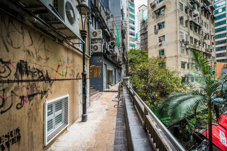 Walkway and buildings at Lan Kwai Fong, in Hong Kong.