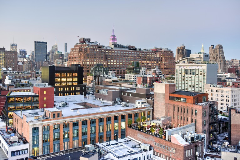 View across Manhattan Meatpacking District and Chelsea into Midtown, New York City