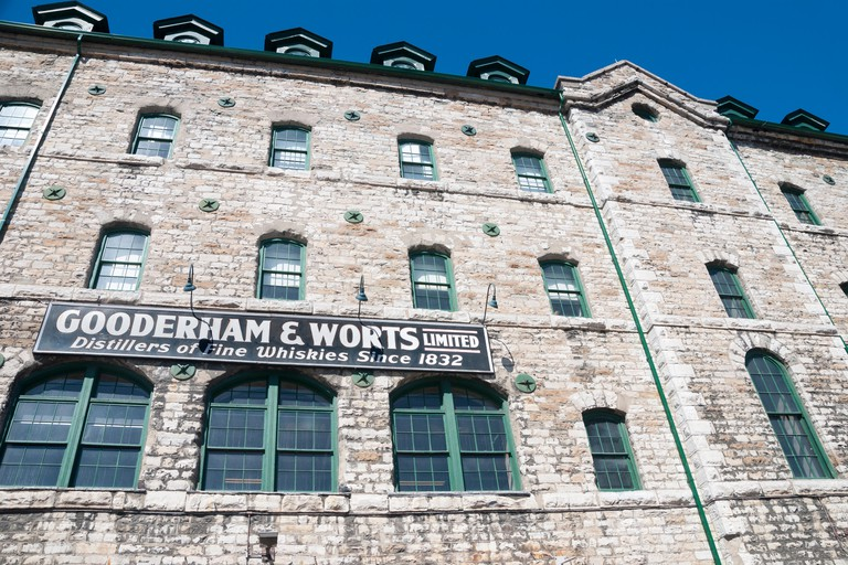 A sign on one of the older building in Toronto's historic distillery district