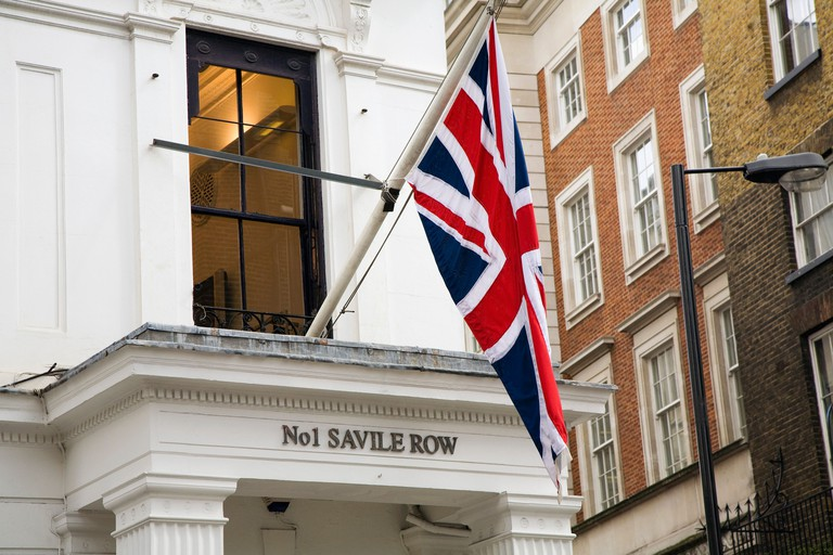 Union Jack Flag hanging in Savile Row, Mayfair, London.