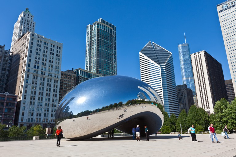 Cloud Gate also known as the Chicago Bean in Millennium Park in Chicago, IL. The work is the creation of artist Anish Kapoor