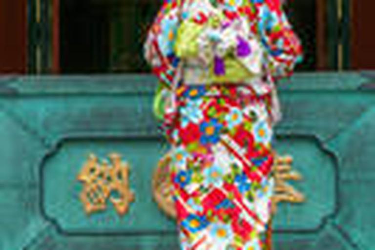 Japanese woman wearing a Kimono At Senso-Ji Temple In Tokyo, Japan
