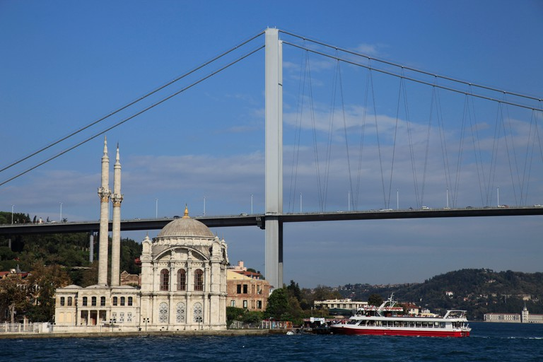 Ortakoey Mosque under Bosphorus Bridge