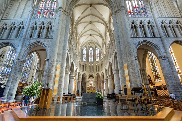 Brussels, Interior of 'St. Michael and St. Gudula' Gothic Cathedral