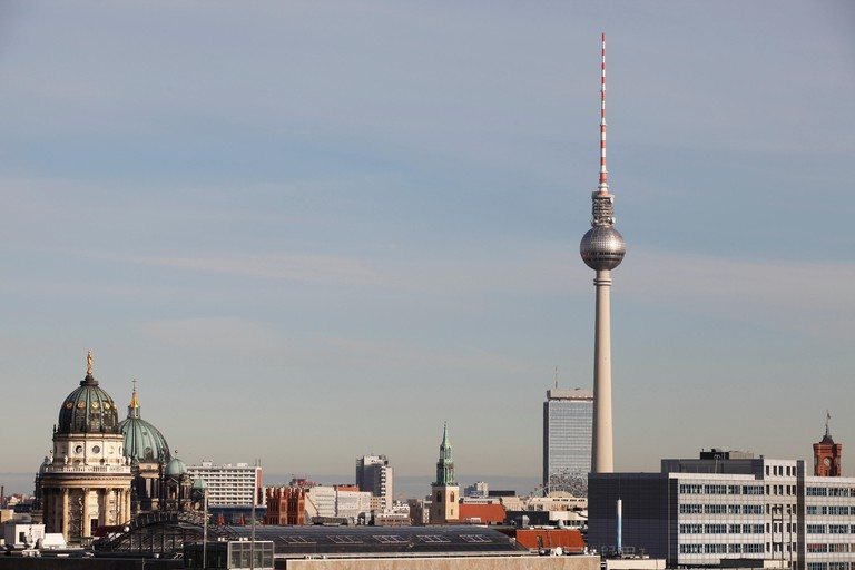 Berlin's TV tower (Berliner Fernsehturm) looms large on the city's skyline