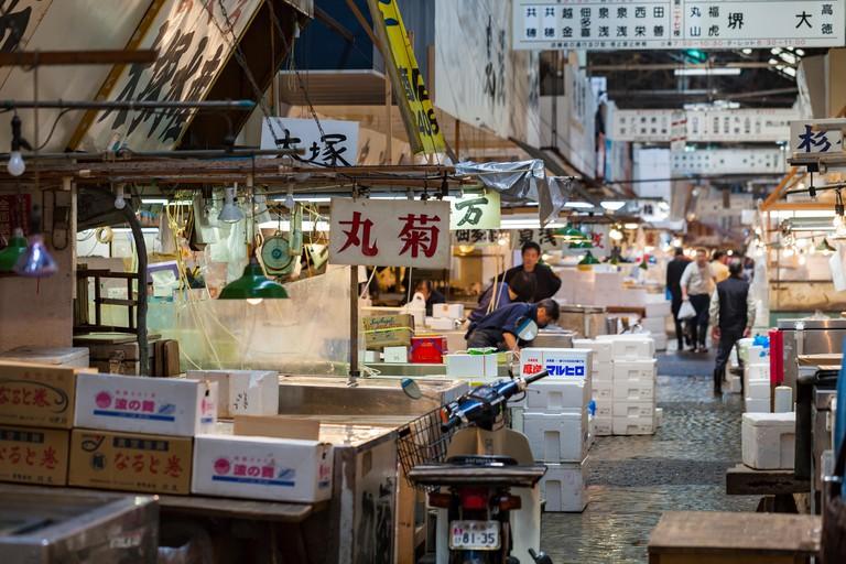 Shoppers visit Tsukiji Fish Market
